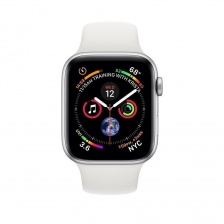 Apple Watch Series 4 GPS 44mm Silver Aluminum Case with White Sport Band